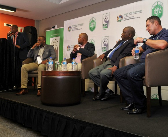 Image caption: (l-r) Lunga Sokhela, General Manager of AmaZulu, Manqoba Bhengu, Mazwi Mkhize, SAFA KZN and Steve Barker, coach of AmaZulu during the AmaZulu Community Trust Launch KZN Future Stars in Moses Mabhida Stadium Durban, Kwa-Zulu Natal on 10 February 2016 ©Muzi Ntombela/